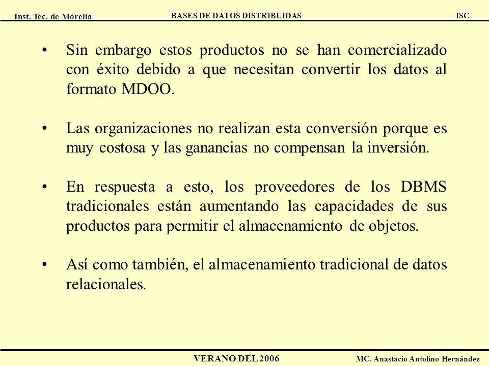 Inst. Tec. de Morelia ISC BASES DE DATOS DISTRIBUIDAS VERANO DEL 2006 MC. Anastacio Antolino Hernández Sin embargo estos productos no se han comercial