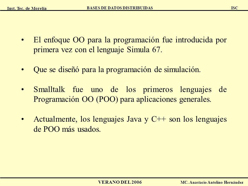 Inst. Tec. de Morelia ISC BASES DE DATOS DISTRIBUIDAS VERANO DEL 2006 MC. Anastacio Antolino Hernández El enfoque OO para la programación fue introduc