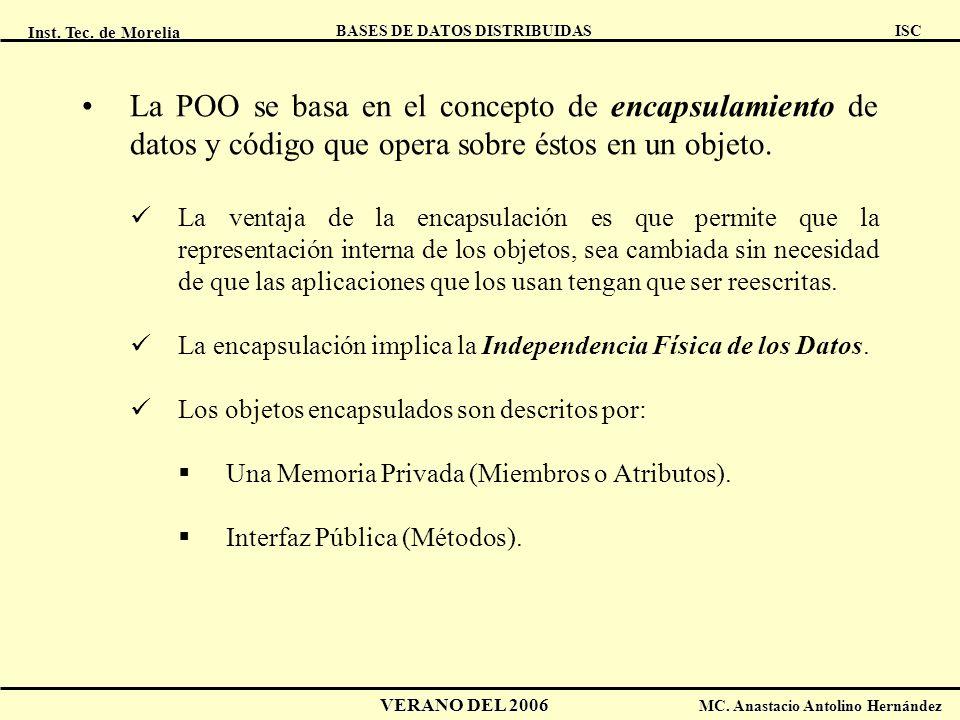 Inst. Tec. de Morelia ISC BASES DE DATOS DISTRIBUIDAS VERANO DEL 2006 MC. Anastacio Antolino Hernández La POO se basa en el concepto de encapsulamient