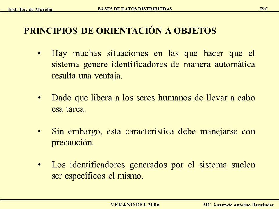 Inst. Tec. de Morelia ISC BASES DE DATOS DISTRIBUIDAS VERANO DEL 2006 MC. Anastacio Antolino Hernández PRINCIPIOS DE ORIENTACIÓN A OBJETOS Hay muchas