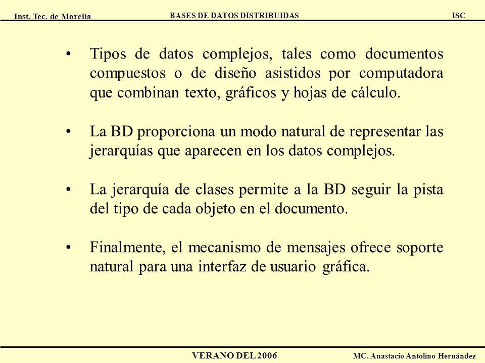 Inst. Tec. de Morelia ISC BASES DE DATOS DISTRIBUIDAS VERANO DEL 2006 MC. Anastacio Antolino Hernández Tipos de datos complejos, tales como documentos