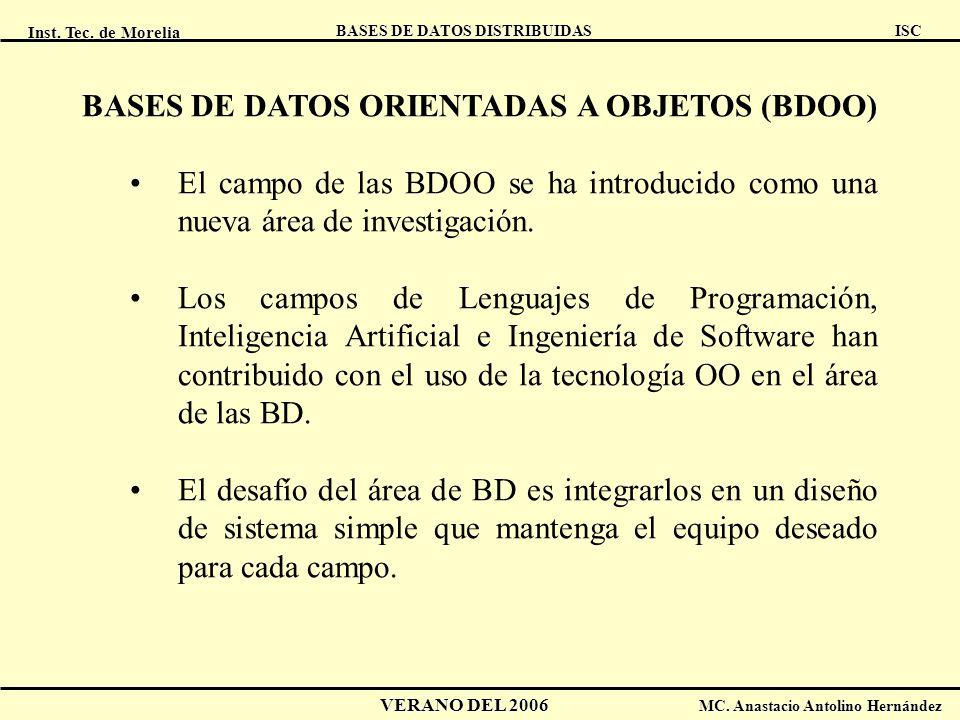 Inst. Tec. de Morelia ISC BASES DE DATOS DISTRIBUIDAS VERANO DEL 2006 MC. Anastacio Antolino Hernández BASES DE DATOS ORIENTADAS A OBJETOS (BDOO) El c
