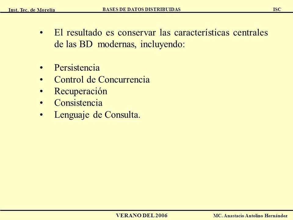 Inst. Tec. de Morelia ISC BASES DE DATOS DISTRIBUIDAS VERANO DEL 2006 MC. Anastacio Antolino Hernández El resultado es conservar las características c