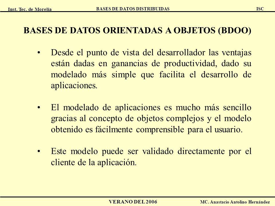 Inst. Tec. de Morelia ISC BASES DE DATOS DISTRIBUIDAS VERANO DEL 2006 MC. Anastacio Antolino Hernández BASES DE DATOS ORIENTADAS A OBJETOS (BDOO) Desd