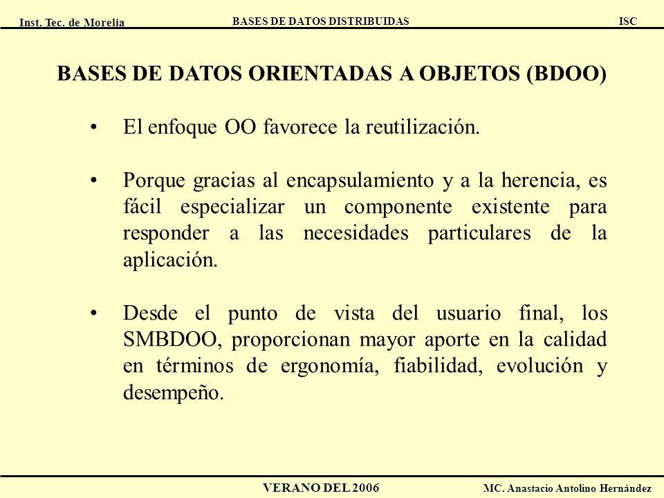 Inst. Tec. de Morelia ISC BASES DE DATOS DISTRIBUIDAS VERANO DEL 2006 MC. Anastacio Antolino Hernández BASES DE DATOS ORIENTADAS A OBJETOS (BDOO) El e