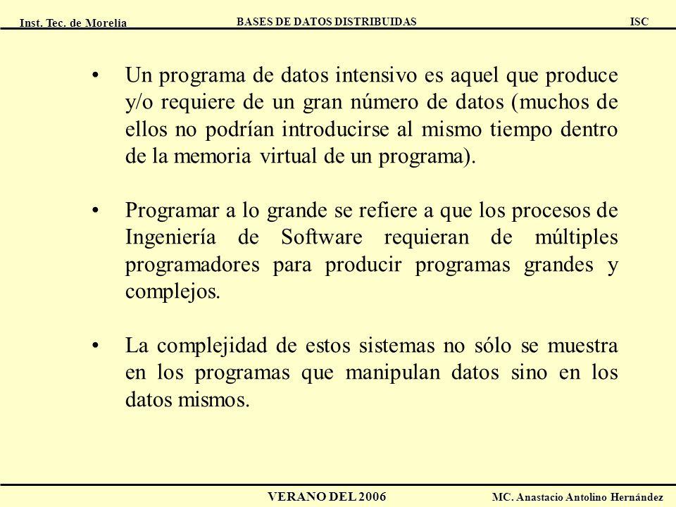 Inst. Tec. de Morelia ISC BASES DE DATOS DISTRIBUIDAS VERANO DEL 2006 MC. Anastacio Antolino Hernández Un programa de datos intensivo es aquel que pro
