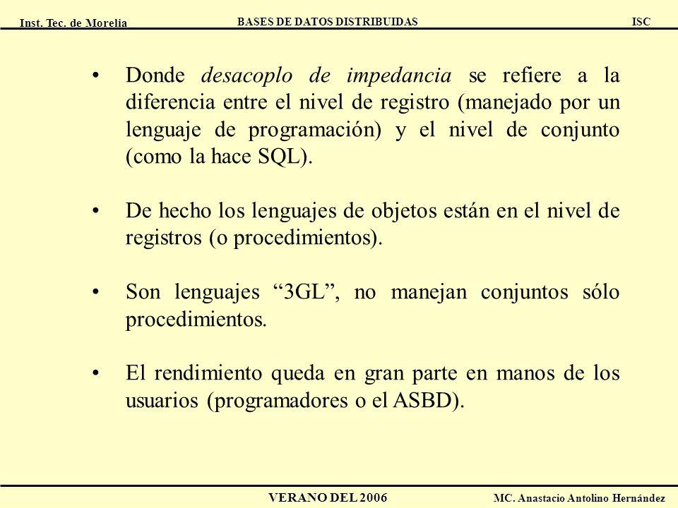 Inst. Tec. de Morelia ISC BASES DE DATOS DISTRIBUIDAS VERANO DEL 2006 MC. Anastacio Antolino Hernández Donde desacoplo de impedancia se refiere a la d