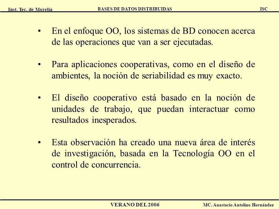 Inst. Tec. de Morelia ISC BASES DE DATOS DISTRIBUIDAS VERANO DEL 2006 MC. Anastacio Antolino Hernández En el enfoque OO, los sistemas de BD conocen ac