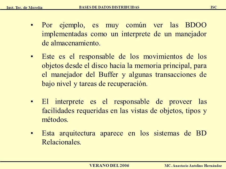 Inst. Tec. de Morelia ISC BASES DE DATOS DISTRIBUIDAS VERANO DEL 2006 MC. Anastacio Antolino Hernández Por ejemplo, es muy común ver las BDOO implemen