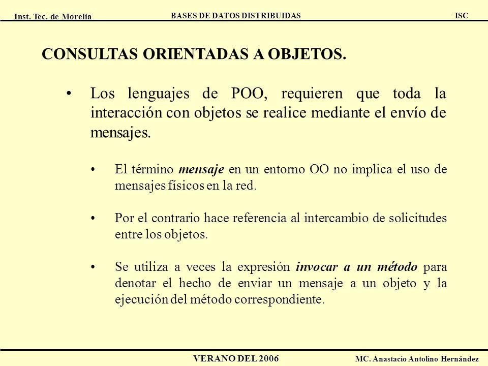Inst. Tec. de Morelia ISC BASES DE DATOS DISTRIBUIDAS VERANO DEL 2006 MC. Anastacio Antolino Hernández CONSULTAS ORIENTADAS A OBJETOS. Los lenguajes d