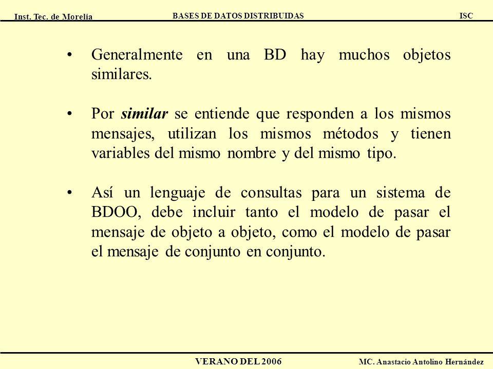 Inst. Tec. de Morelia ISC BASES DE DATOS DISTRIBUIDAS VERANO DEL 2006 MC. Anastacio Antolino Hernández Generalmente en una BD hay muchos objetos simil