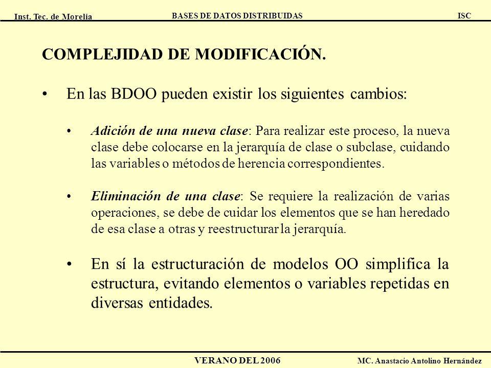 Inst. Tec. de Morelia ISC BASES DE DATOS DISTRIBUIDAS VERANO DEL 2006 MC. Anastacio Antolino Hernández COMPLEJIDAD DE MODIFICACIÓN. En las BDOO pueden