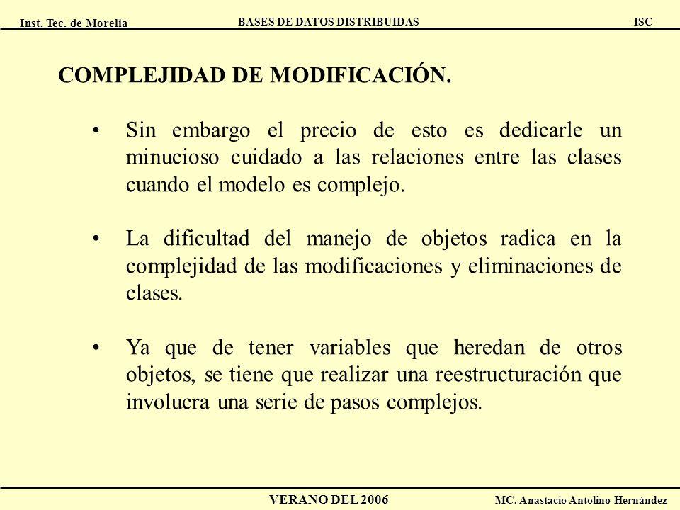 Inst. Tec. de Morelia ISC BASES DE DATOS DISTRIBUIDAS VERANO DEL 2006 MC. Anastacio Antolino Hernández COMPLEJIDAD DE MODIFICACIÓN. Sin embargo el pre