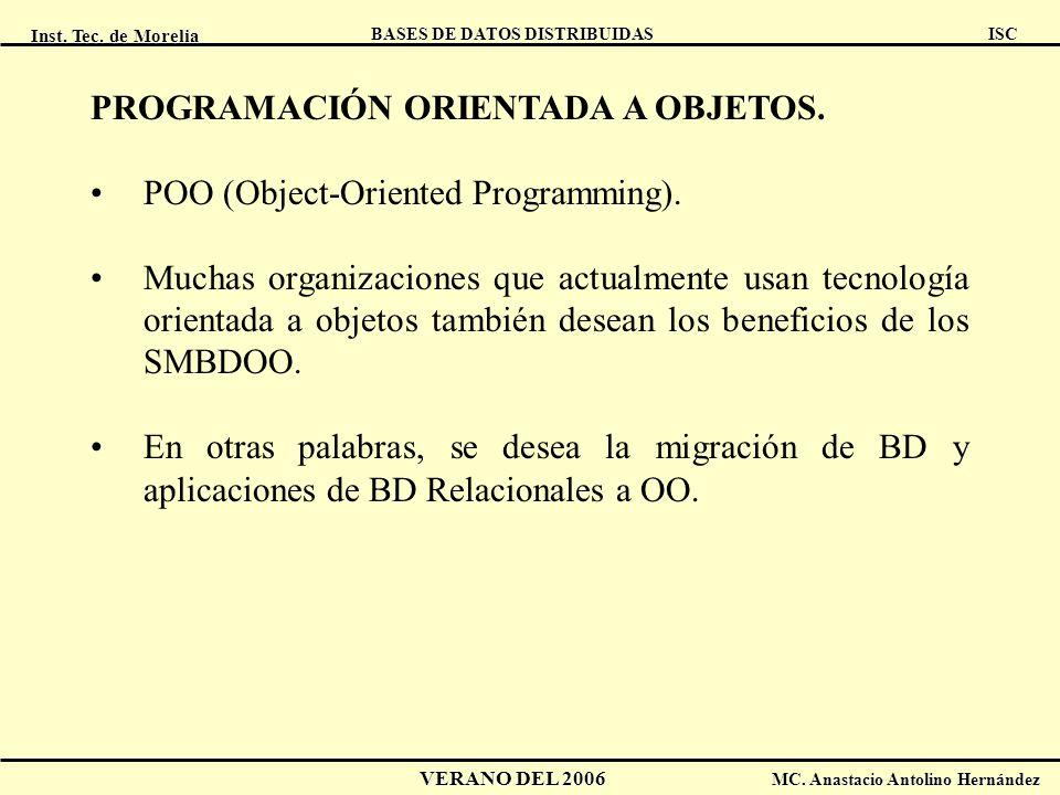 Inst. Tec. de Morelia ISC BASES DE DATOS DISTRIBUIDAS VERANO DEL 2006 MC. Anastacio Antolino Hernández PROGRAMACIÓN ORIENTADA A OBJETOS. POO (Object-O