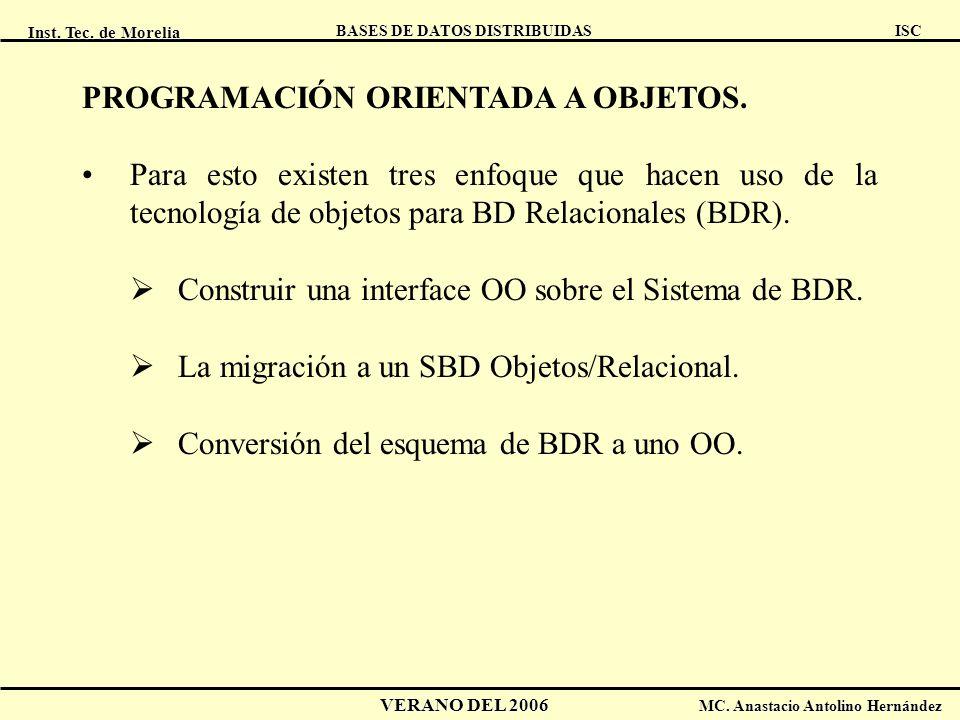 Inst. Tec. de Morelia ISC BASES DE DATOS DISTRIBUIDAS VERANO DEL 2006 MC. Anastacio Antolino Hernández PROGRAMACIÓN ORIENTADA A OBJETOS. Para esto exi