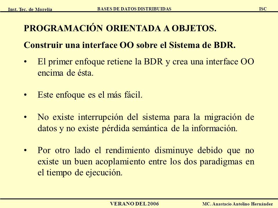 Inst. Tec. de Morelia ISC BASES DE DATOS DISTRIBUIDAS VERANO DEL 2006 MC. Anastacio Antolino Hernández PROGRAMACIÓN ORIENTADA A OBJETOS. Construir una