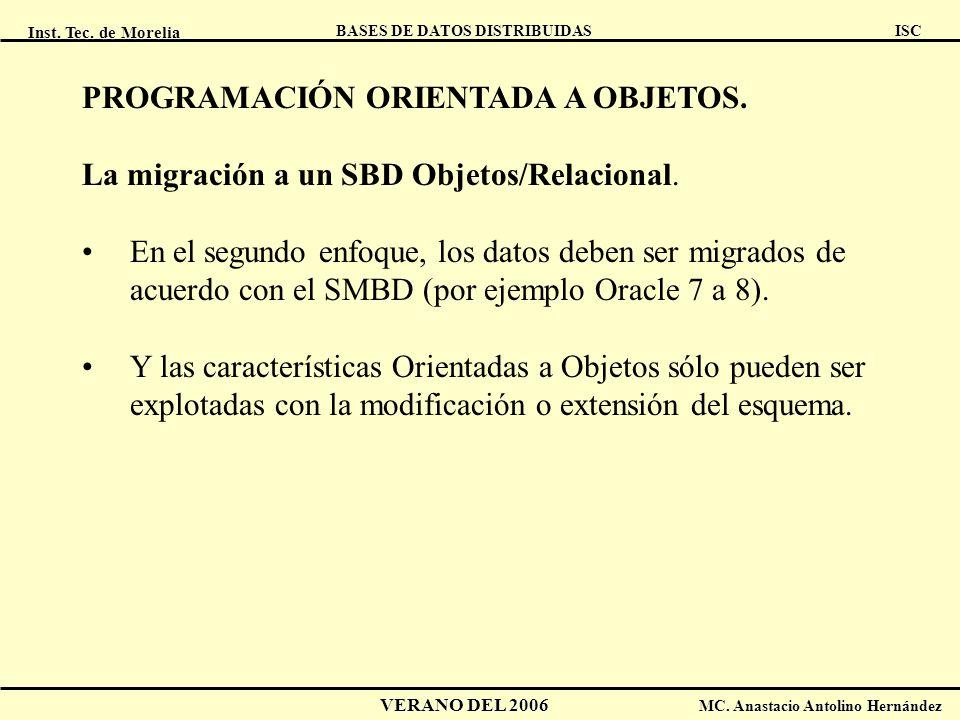 Inst. Tec. de Morelia ISC BASES DE DATOS DISTRIBUIDAS VERANO DEL 2006 MC. Anastacio Antolino Hernández PROGRAMACIÓN ORIENTADA A OBJETOS. La migración