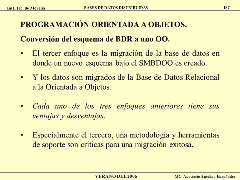 Inst. Tec. de Morelia ISC BASES DE DATOS DISTRIBUIDAS VERANO DEL 2006 MC. Anastacio Antolino Hernández PROGRAMACIÓN ORIENTADA A OBJETOS. Conversión de