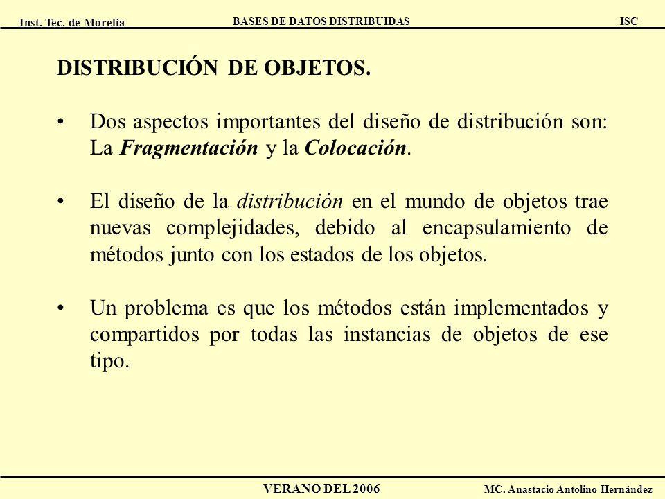 Inst. Tec. de Morelia ISC BASES DE DATOS DISTRIBUIDAS VERANO DEL 2006 MC. Anastacio Antolino Hernández DISTRIBUCIÓN DE OBJETOS. Dos aspectos important