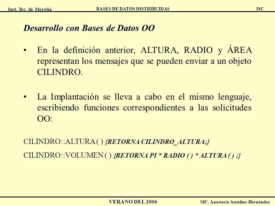 Inst. Tec. de Morelia ISC BASES DE DATOS DISTRIBUIDAS VERANO DEL 2006 MC. Anastacio Antolino Hernández Desarrollo con Bases de Datos OO En la definici