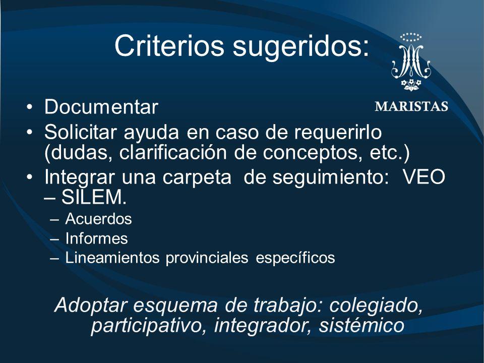 Criterios sugeridos: Documentar Solicitar ayuda en caso de requerirlo (dudas, clarificación de conceptos, etc.) Integrar una carpeta de seguimiento: VEO – SILEM.