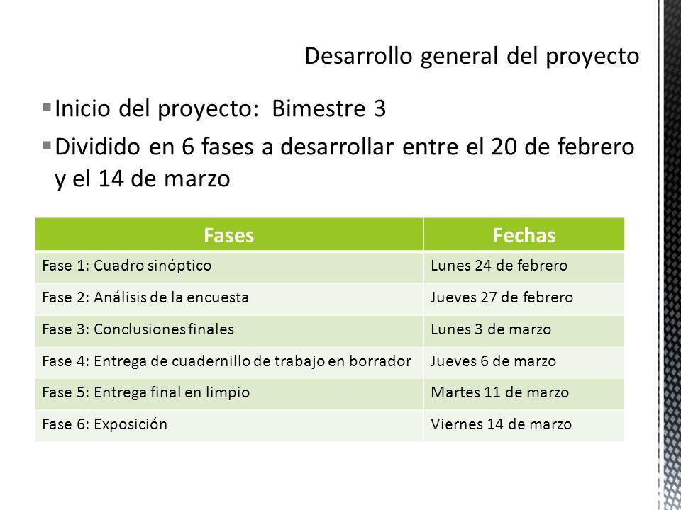 Inicio del proyecto: Bimestre 3 Dividido en 6 fases a desarrollar entre el 20 de febrero y el 14 de marzo FasesFechas Fase 1: Cuadro sinópticoLunes 24