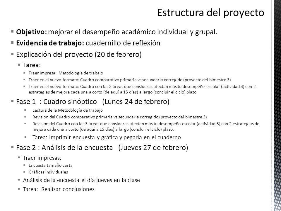 Objetivo: mejorar el desempeño académico individual y grupal. Evidencia de trabajo: cuadernillo de reflexión Explicación del proyecto (20 de febrero)