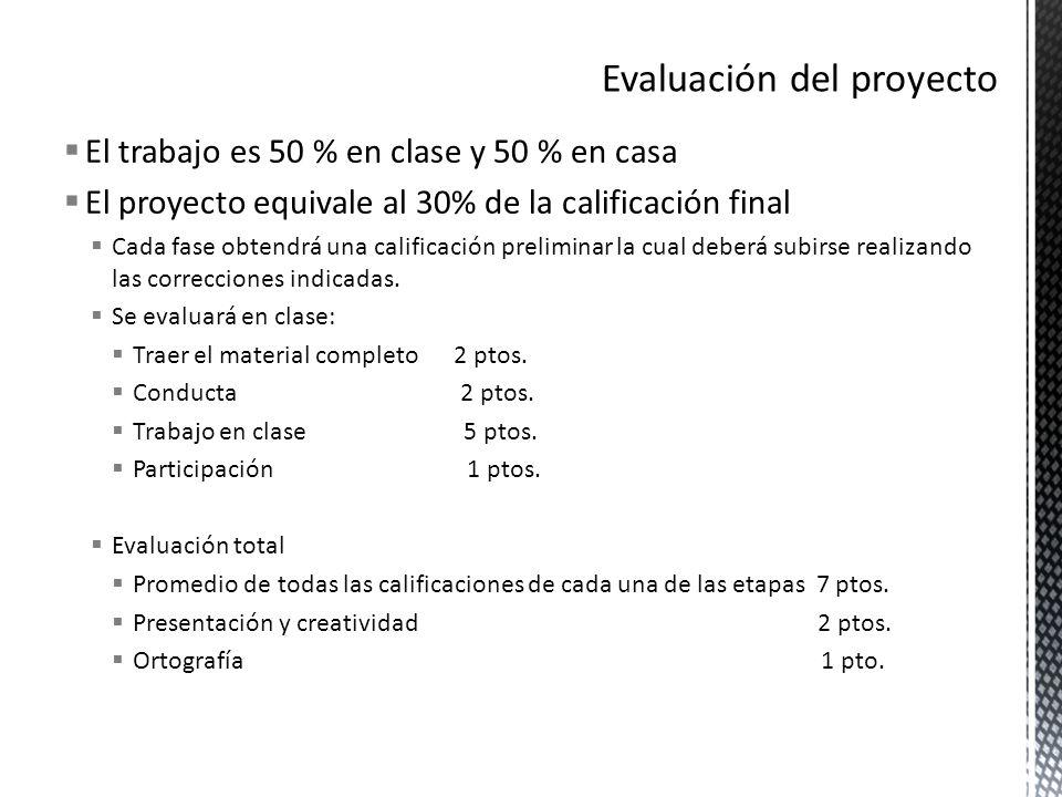 El trabajo es 50 % en clase y 50 % en casa El proyecto equivale al 30% de la calificación final Cada fase obtendrá una calificación preliminar la cual