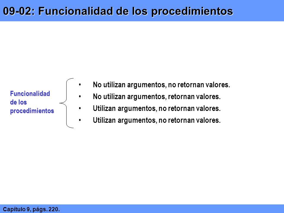 09-02: Funcionalidad de los procedimientos Capítulo 9, págs. 220. Funcionalidad de los procedimientos No utilizan argumentos, no retornan valores. No