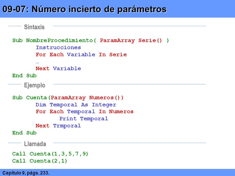 Sub NombreProcedimiento( ParamArray Serie() ) Instrucciones For Each Variable In Serie … Next Variable End Sub Sub Cuenta(ParamArray Numeros()) Dim Te