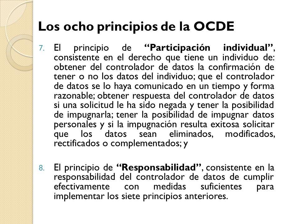 7. El principio de Participación individual, consistente en el derecho que tiene un individuo de: obtener del controlador de datos la confirmación de
