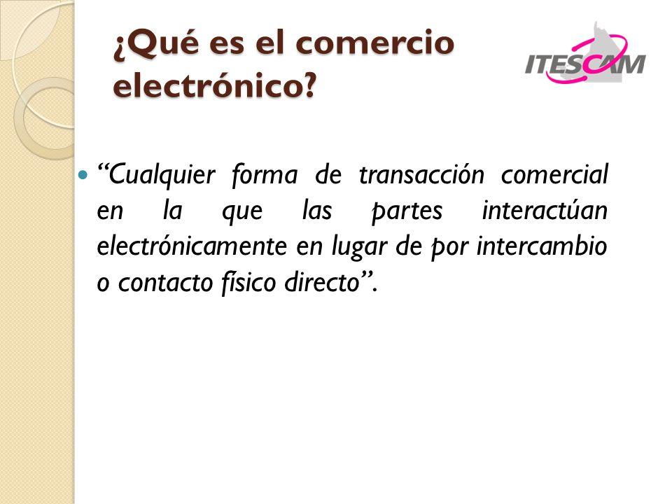 ¿Qué es el comercio electrónico? Cualquier forma de transacción comercial en la que las partes interactúan electrónicamente en lugar de por intercambi