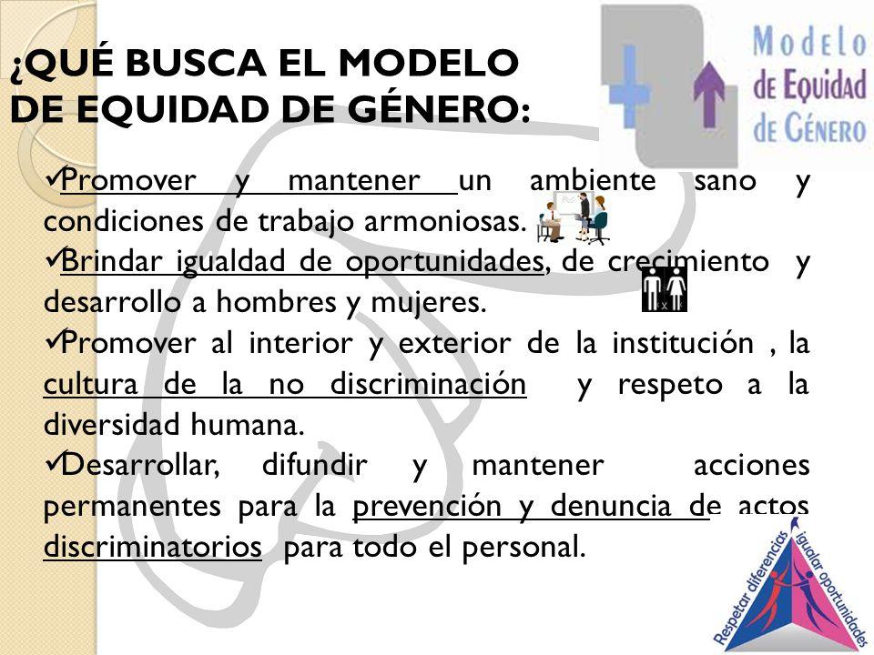 ¿QUÉ BUSCA EL MODELO DE EQUIDAD DE GÉNERO: Promover y mantener un ambiente sano y condiciones de trabajo armoniosas. Brindar igualdad de oportunidades