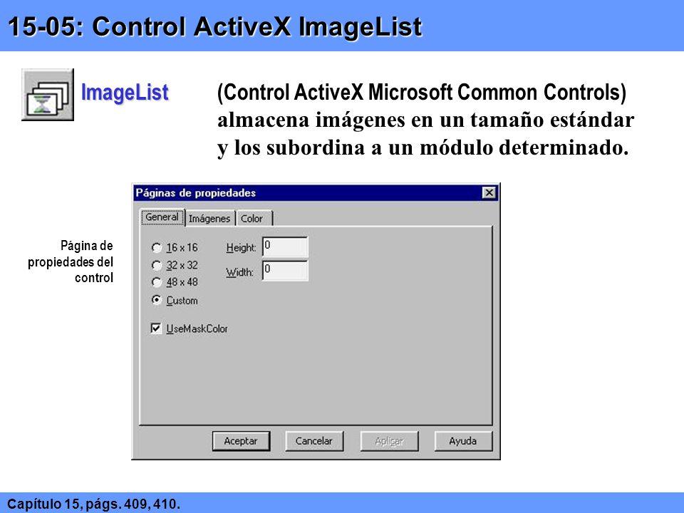 15-05: Control ActiveX ImageList Capítulo 15, págs.