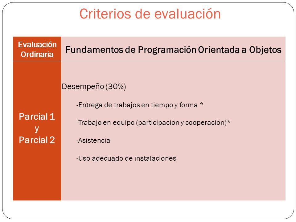 Criterios de evaluación Evaluación Ordinaria Fundamentos de Programación Orientada a Objetos Parcial 1 y Parcial 2 Desempeño (30%) -Entrega de trabajos en tiempo y forma * -Trabajo en equipo (participación y cooperación)* -Asistencia -Uso adecuado de instalaciones