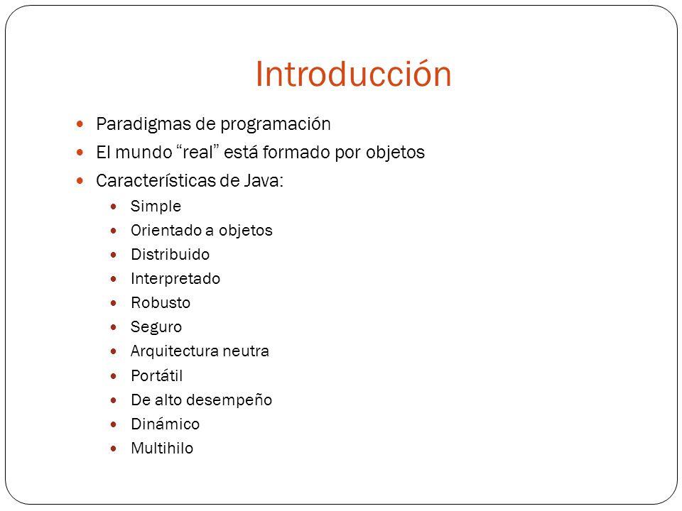 Introducción Paradigmas de programación El mundo real está formado por objetos Características de Java: Simple Orientado a objetos Distribuido Interpretado Robusto Seguro Arquitectura neutra Portátil De alto desempeño Dinámico Multihilo