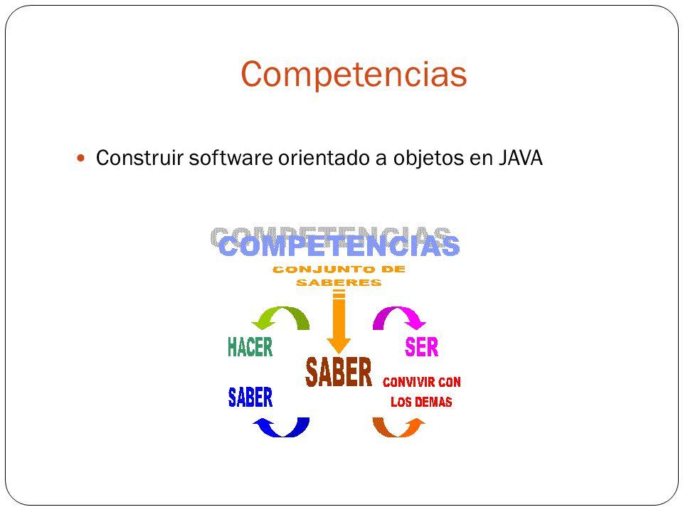 Competencias Construir software orientado a objetos en JAVA
