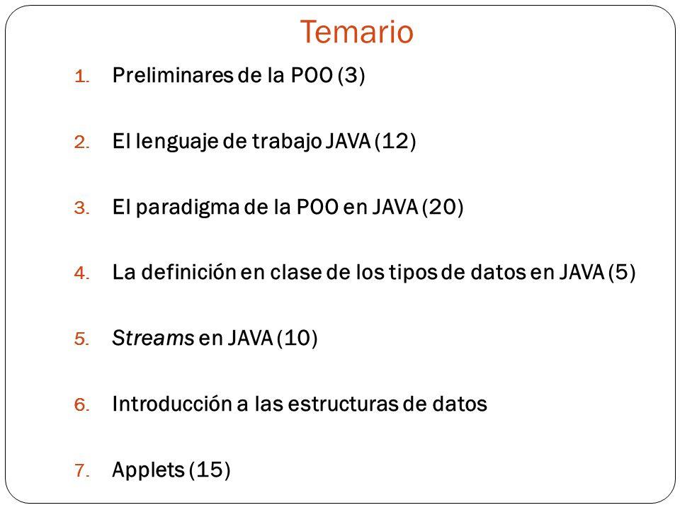 Temario 1.Preliminares de la POO (3) 2. El lenguaje de trabajo JAVA (12) 3.