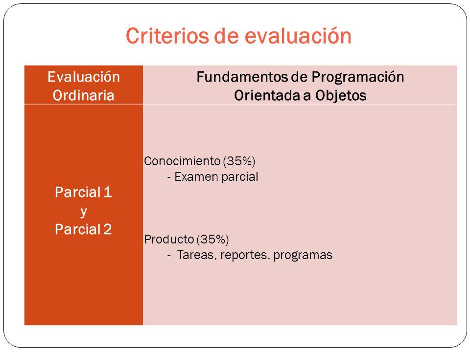 Criterios de evaluación Evaluación Ordinaria Fundamentos de Programación Orientada a Objetos Parcial 1 y Parcial 2 Conocimiento (35%) - Examen parcial Producto (35%) - Tareas, reportes, programas