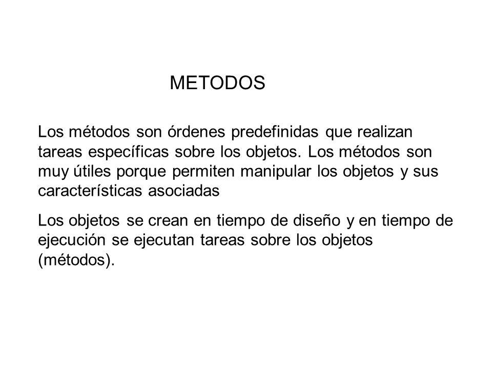 METODOS Los métodos son órdenes predefinidas que realizan tareas específicas sobre los objetos. Los métodos son muy útiles porque permiten manipular l