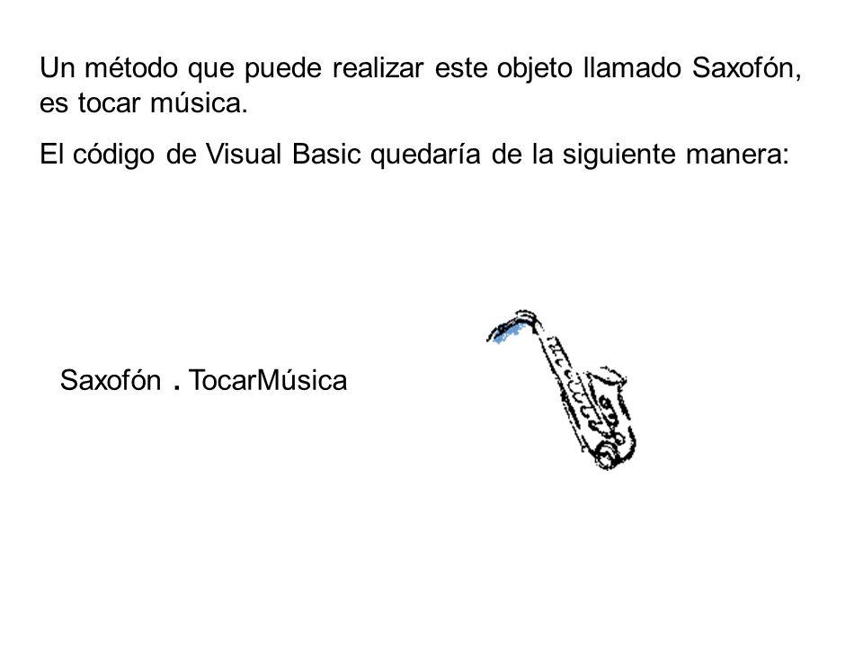 Un método que puede realizar este objeto llamado Saxofón, es tocar música. El código de Visual Basic quedaría de la siguiente manera: Saxofón. TocarMú