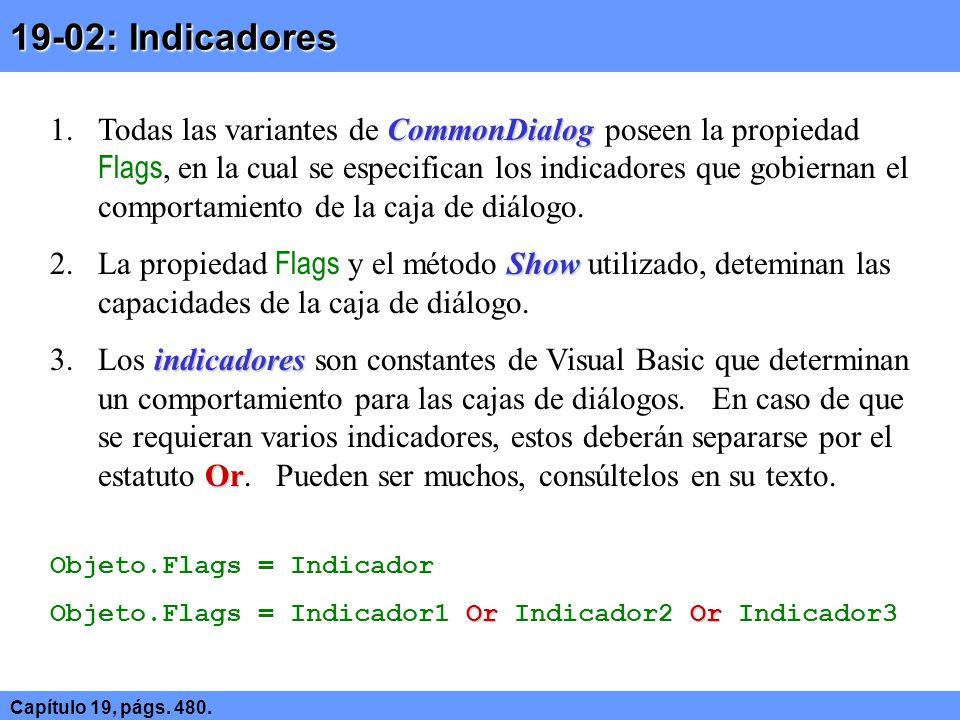 19-02: Indicadores Capítulo 19, págs. 480.