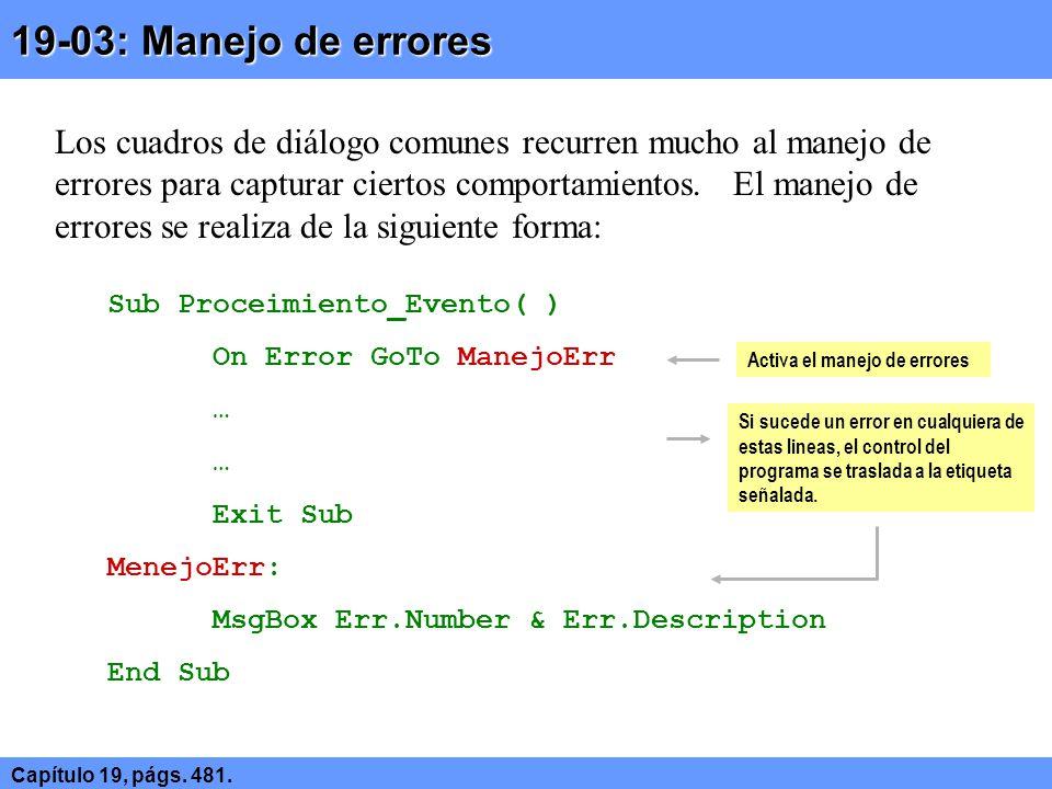 19-03: Manejo de errores Capítulo 19, págs. 481.