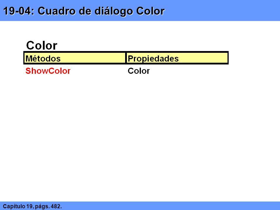 19-04: Cuadro de diálogo Color Capítulo 19, págs. 482.