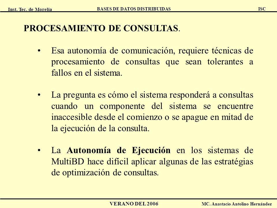 Inst. Tec. de Morelia ISC BASES DE DATOS DISTRIBUIDAS VERANO DEL 2006 MC. Anastacio Antolino Hernández PROCESAMIENTO DE CONSULTAS. Esa autonomía de co