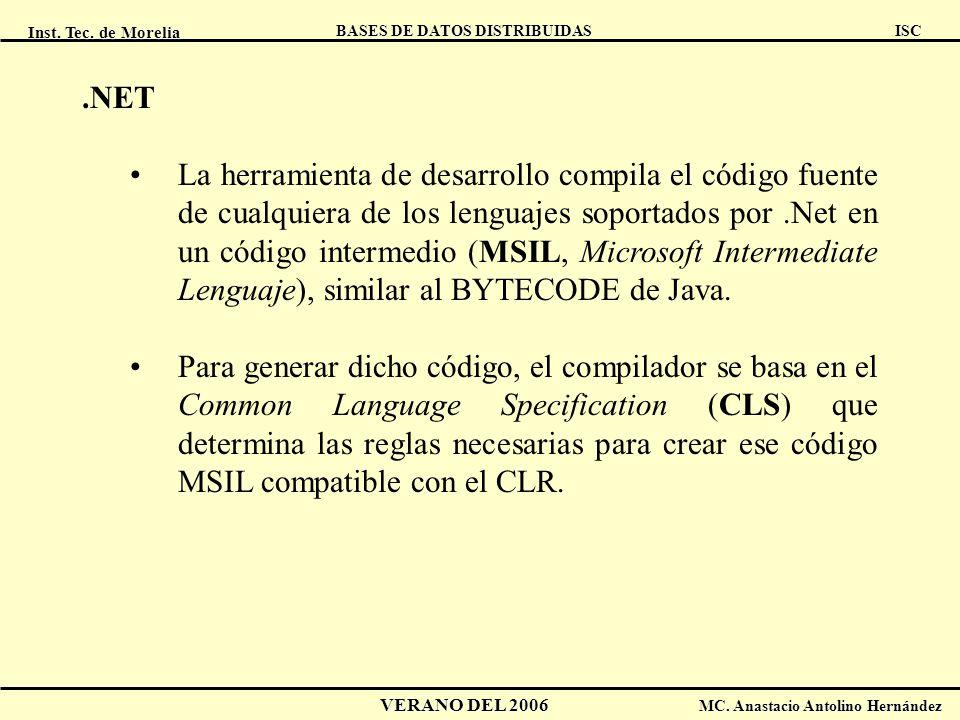 Inst. Tec. de Morelia ISC BASES DE DATOS DISTRIBUIDAS VERANO DEL 2006 MC. Anastacio Antolino Hernández.NET La herramienta de desarrollo compila el cód