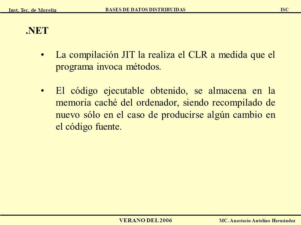 Inst. Tec. de Morelia ISC BASES DE DATOS DISTRIBUIDAS VERANO DEL 2006 MC. Anastacio Antolino Hernández.NET La compilación JIT la realiza el CLR a medi