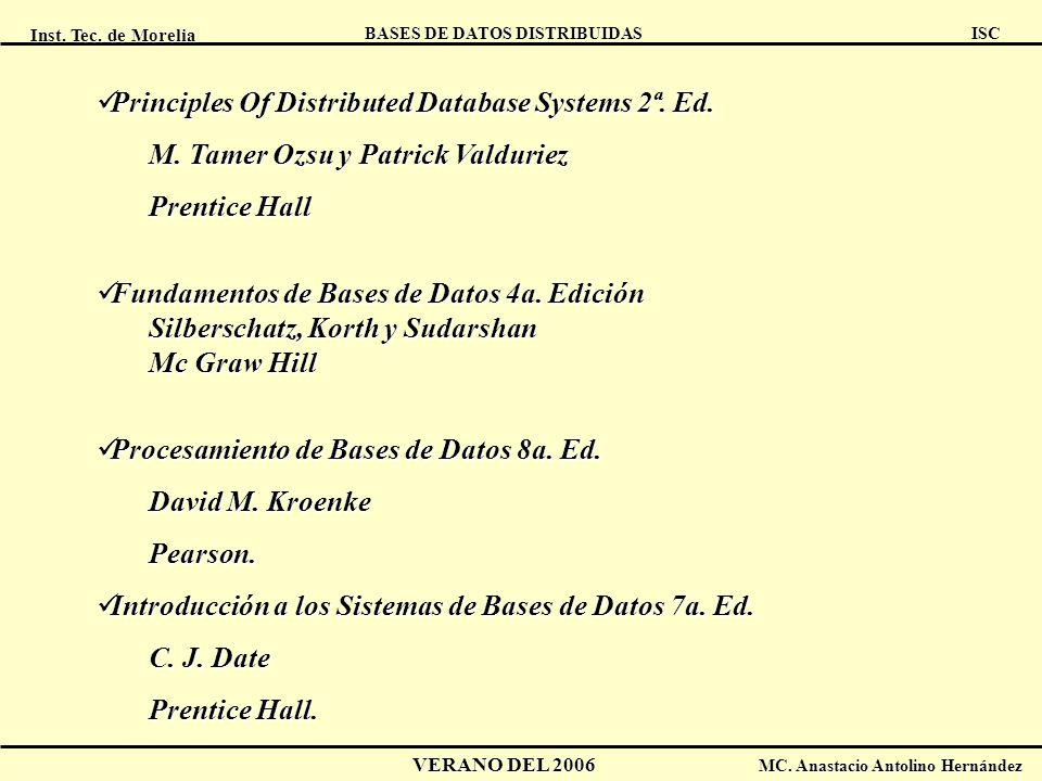 Inst. Tec. de Morelia ISC BASES DE DATOS DISTRIBUIDAS VERANO DEL 2006 MC. Anastacio Antolino Hernández Principles Of Distributed Database Systems 2ª.