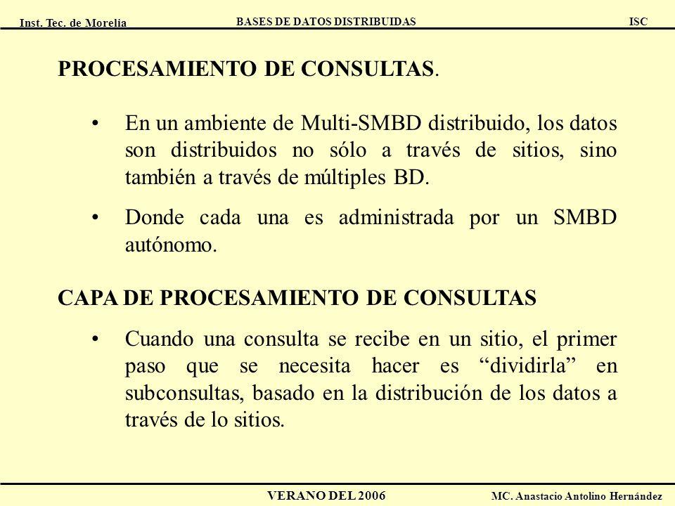Inst. Tec. de Morelia ISC BASES DE DATOS DISTRIBUIDAS VERANO DEL 2006 MC. Anastacio Antolino Hernández PROCESAMIENTO DE CONSULTAS. En un ambiente de M