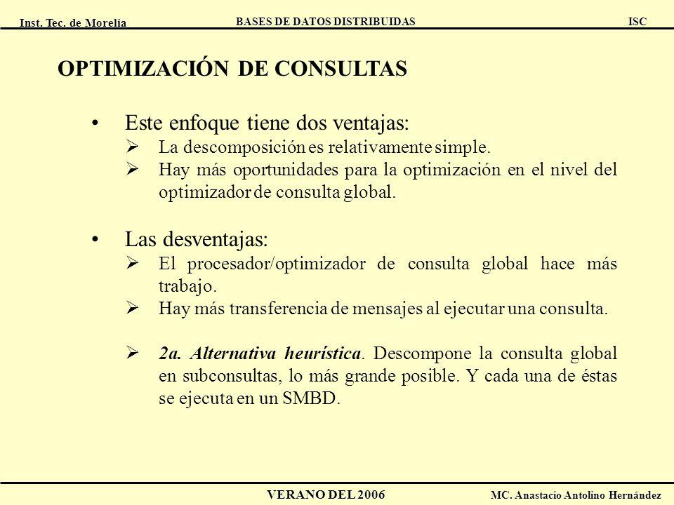 Inst. Tec. de Morelia ISC BASES DE DATOS DISTRIBUIDAS VERANO DEL 2006 MC. Anastacio Antolino Hernández OPTIMIZACIÓN DE CONSULTAS Este enfoque tiene do